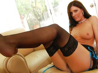 India Summer is the sexiest milf you have ever seen. Everyone loves her. She's dressed in a sexy darksome night gown, darksome stockings and darksome high heels. That babe gets undressed and plays with her vagina very erotically strictly for your viewing pleasure.