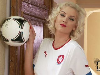 Pretty Czech golden-haired model Bianca wear