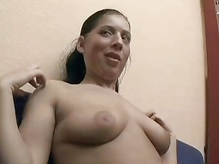 Exciting German spread out shows off and lets guy touch her