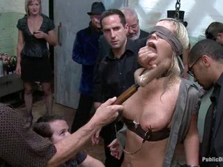 trussed together with masked Tara Lynn gets her cunt vibed together with titties squeezed.