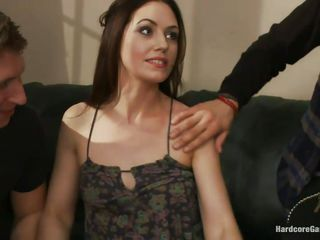 Five horny men want to play with their excited girlfriend Sarah. They put her on a table, after ripping her whore clothes off. They start to spank the bitch, her small mangos and wet cunt of hers. The slut likes being drilled hard in her pussy and too to suck their big hard cocks. She`ll be filled with cum!