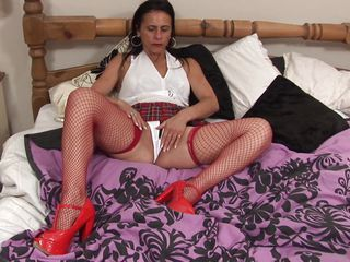 Anna likes to dress like a school girl but she's not one anymore, the Fifty y. o. cunt has a lot more experience! Anna still enjoys a hard pussy rubbing just like that babe used to in the old times so here u have it, playing alone with her body and rubbing those tits and pussy. Let's see if that babe will remove her panties