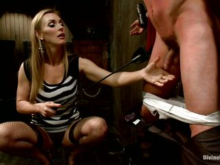 Blonde milf Tanya enjoys being Casey`s bit of skirt with an increment of plays hard with his balls. He has his hands tied up nigh the wall with a box on his head. This babe likes unbearable his nipples with an increment of making him feel comparable to the slave he is. Casey was a bad wretch with an increment of now he must recognize the right punishment! Watch how his load of old cobblers tremble.
