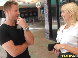 hawt blonde hunted down by horny guy!