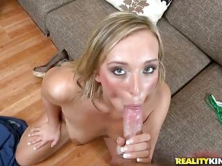 blonde playgirl with long hair sucking and ridding a guy
