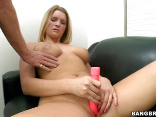 blonde sweetheart acquires a dick after sextoy