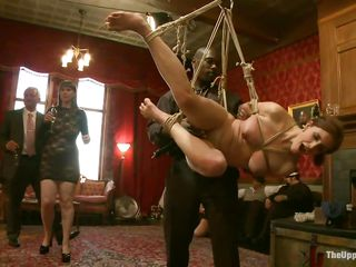 Those guys are brutal and they are not going to spare any woman that comes into their domain. Darksome guy has already got a hotty hanging from the ropes depending totally on his non-existent mercy and the other guy has already lined up a a pair of cuties and is taking a blowjob before nailing them
