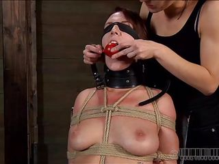 1st we put ball gag into her mouth, then add clamps on her pink nipps and after that we leave her there, blindfolded and tied up. This slut is about to receive a harsh and humiliating punishment, just the way she deserves it. Would u like to stay with us and watch what we do to these fucking, worthless whores?