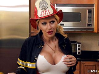 firewoman riley evans heats up rub-down the kitchen
