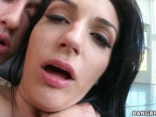 she rides a giant dick with the addition of gets hot cum on the brush cunt