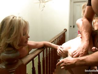 cute milf and mature woman pleasuring lucky guy