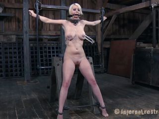 blonde girl cheerful to be punished