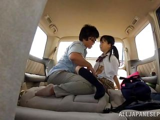 petite schoolgirl exploited on touching the jalopy