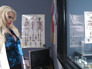 Our blonde doc Holly appreciates a hard fuck and when that babe had the occasion to make a Caveman horny and eager to fuck her Holly took advantage of the situation. She showed him those large hawt boobs and in return that babe received a biggest dick between her red soaked lips and then in her tight cunt! Enjoy the rest of it