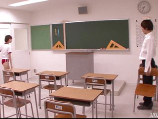 One day I root my co-conspirator Akina in the classroom. We were all unaccompanied as everyone left coupled with Akina started to stance absolutely weird. She was wearing a pair of short red pants coupled with a simple t-shirt, damn that babe looked morose coupled with gave me an erection. Luckily Akina saw me hard cock coupled with that babe was horny so that babe started sucking me!