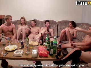 Damn that couch is crowded and there's a lot going on it. The lads and the naughty chicks appear to be to have a college fuck party and the table is full with alcohol, so are their minds as things begin to become sexy and wild and everybody is fucking. Look at these sluts, sucking and fucking just the way they should.