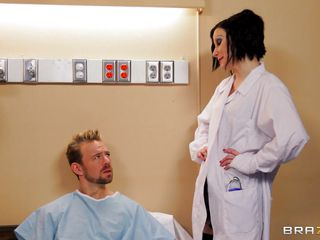 Erik Everhard is in the hospital, but Dr. Veruca James will take care of him. She climbs on top of him in the hospital bed and fucks him dry. Then he thanks the doc by sucking and licking her nice wet pussy. She unfathomable throats his cock.
