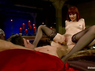 divine redhead bitch fucking a chap with a strap on