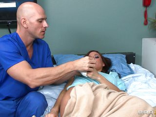 Gia DiMarco is sick. Her nurse Johnny Sins takes care of her by giving her a soapy bath. That guy lathers up her round bra buddies with soap making them worthy and clean. This is tit sucking at it's finest. That guy ends up in the tub, too.