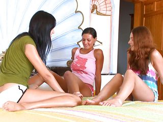 3 teens sharing burnish apply same lesbo lust
