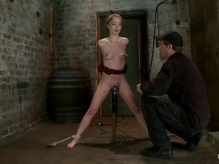 Jessi is getting undressed and her billibongs whipped before the guy inserts a vibrator in her pussy and then proceeds to whip her hawt body, but this time her ass gets it. She's a petite girl with small hawt billibongs and hawt legs that are widen and tied by that bondage machine. After all that whipping he puts clamps with weights on her nipples and we have a feeling that a lot greater amount is going to happen.