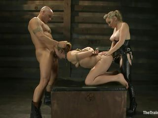 hot milf receives double penetrated in rope bondage