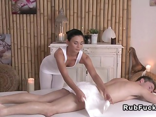 Sexy masseuse relaxing man