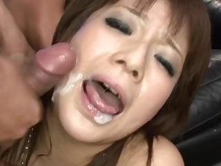 Eye-catching Japanese darling pleases in the air wet fellatio