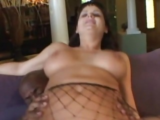 Hawt and nasty swarthy chick gets bulky chocolate dick in gazoo