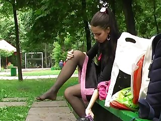 black serving-girl in public