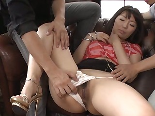 Lovely Japanese enjoys coarse group fucking delights