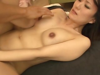 Horny Japanese chick gets her cum-hole wet close by large sex-toy