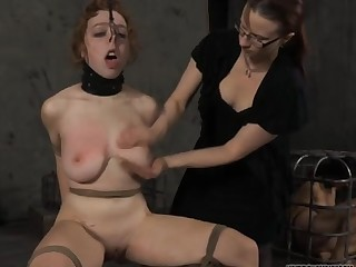 Bound alongside thrall acquires lusty gratifying her hellacious twat