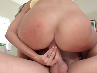 Holly Marie Bryn gives deepthroat and gets rammed in excess of white couch