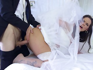 Sexy dark haired bride fucks her husband Danny with awe