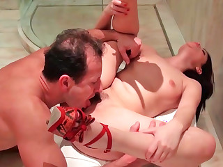 Ava Dalush sucking foregather prick together with obtaining drilled from break weighing down on