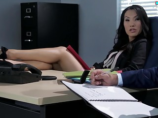 A hot Asian slut is getting fucked on every side the office by the brush employee