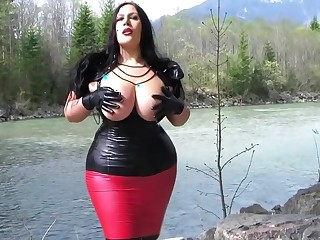 Gothic Latex Fantasy - Vituperative Alfresco Blowjob Handjob with Latex Gloves - Cum on my Tits