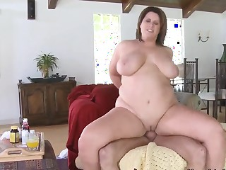 Fatty Lisa Sparxxx pleases younger guy with massive gaping void throat and hard anal