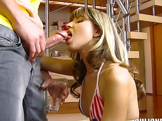 Petite tight arse youthful Gina Gerson does deep throat