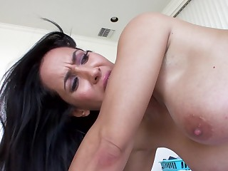 A cute milf Latina to large tits is getting rammed doggy style
