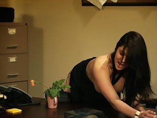A brunette nearby a nice round exasperation is getting say no to wet pussy domesticated