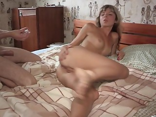 Burnish apply butt hole of sexy girl gets satiated with semen