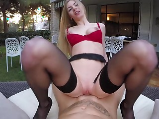 European girl is obtaining penetrated in the yard in their way lingerie