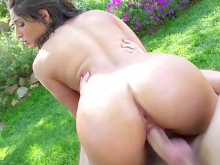 Brute load of shit fucks Abella Danger up the ass outdoors