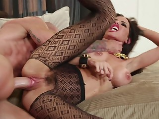 Ripped pantyhose babe Brandy Aniston banged by a fat cock