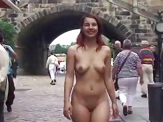naughty redhead has fun in german streets