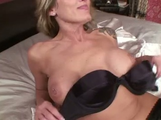 Milf blonde mom with pantyhose swollen pussy dildo action