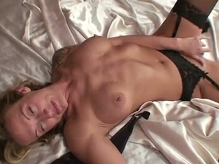 Milf blonde mom with pantyhose inflated pussy dildo action