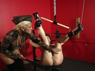 Maxine x has jamie james tied up and uses dildo